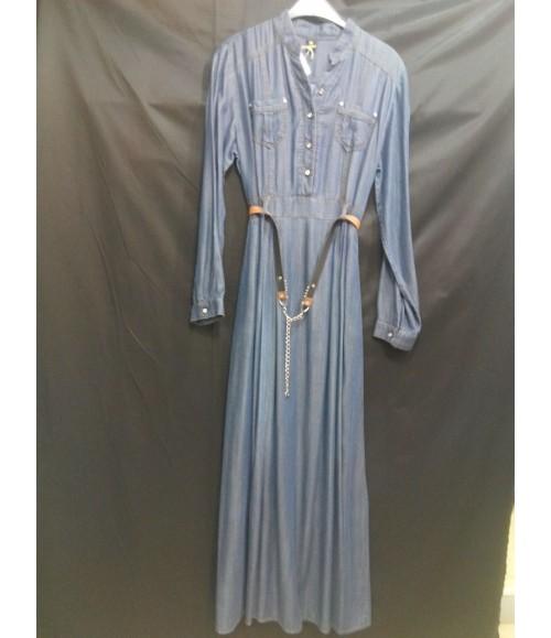 Uzun Tensel Kumaşdan Elbise